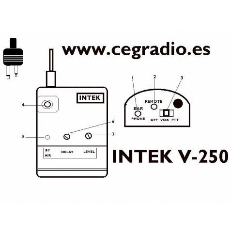 Micro Adaptador PTT remoto Intek V-250