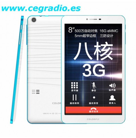 """COLORFLY G808HD 3G 8"""" IPS Android 4.4 2GB 16GB"""