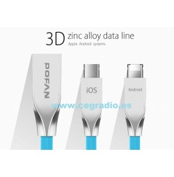 POFAN Cable Micro USB 2 en 1 para iPhone Samsung