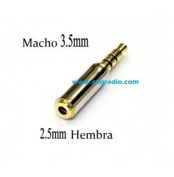 Conector Estéreo 3.5mm Macho a Jack Estéreo 2.5mm Hembra