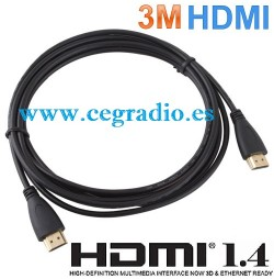 3m Cable HDMI V1.4 Full HD 1080P