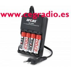 Cargador Baterías con (4 de 2700 mAh incluidas)
