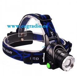 Linterna zoom cabeza 1200 Lm LED T6 + cargador + Baterias