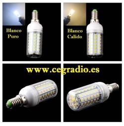 Bombilla E14 72 LED 2835 10W