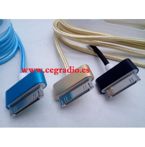 Cable USB Trenzado Nylon Carga Datos 30 Pin iPad 2 3 iPhone 4 4s Vista Conector
