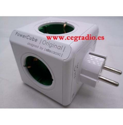 Power Cube Verde 5 tomas de alimentación