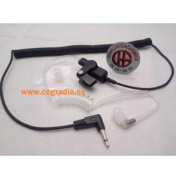 Auricular Tubo Acústico Conector 3.5mm Especial Seguridad Vista Completa