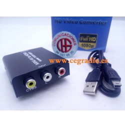 Convertidor de Video Analógico RCA AV CVBS a HDMI HD 1080P