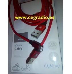 1,2 m Cable Trenzado Rojo Baseus de Carga y Datos iPhone 5-6-7