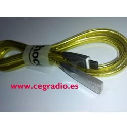 HOCO U9 Cable Aleación Zinc Amarillo Carga Datos USB Vista Horizontal
