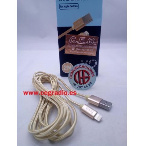 HOCO U9 Cable Aleación de Zinc Amarillo Carga Datos USB iPhone iPad Vista Completa