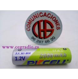 Pkcell Batería Recargable Ni-MH AA 2600 mAh 1.2 V 2A Vista Horizontal