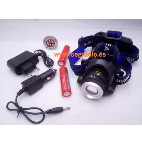 Linterna Cabeza LED XM-L L2 Zoom + Baterias + Cargador