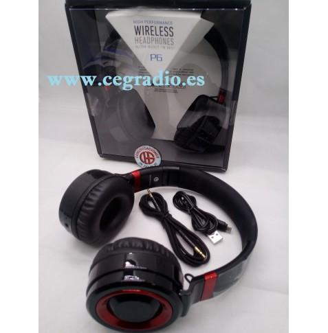 Auriculares Inalambricos Microfono Radio FM Bluetooth 4.0 Vista General