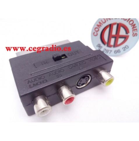 Adaptador Euroconector Scart a RCA S-video Compuesto AV TV Audio