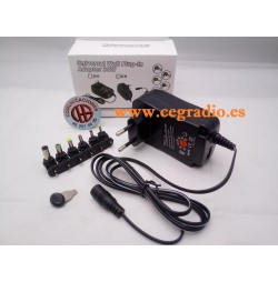 Alimentador Universal Regulable AC-DC 30 W 3 V-12 V y puerto USB 5 V 2.1A