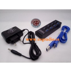 Divisor HUB 4 Puertos USB 3.0 Alta Velocidad 1000 Mbps Vista Completa