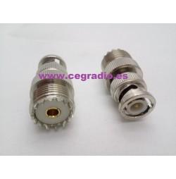 CONECTOR BNC MACHO A PL259 HEMBRA Vista Frontal