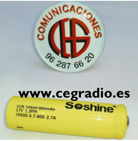 Bateria Soshine 14500 Li-ion 900mAh 3.7V