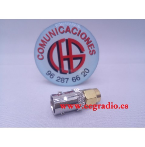Adaptador Conector BNC Hembra a SMA Macho
