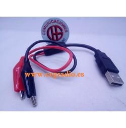 Cable de Prueba USB Macho a Doble Pinza de cocodrilo