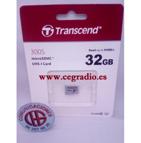 Transcend Tarjeta de Memoria Micro SD 32 GB 300S Clase 10