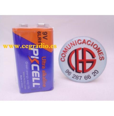 PKCELL Batería Pila Alcalina 9 V 6LR61