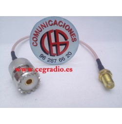 16cm Cable Con Conectores SMA Hembra a PL259 Hembra