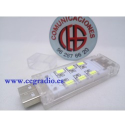 Luz De Noche LED USB 12 SMD 5730 Blanco Frio