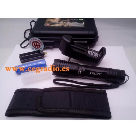 Maleta Linterna CREE T6 LED 800 Lm Zoomable Batería Cargador Funda