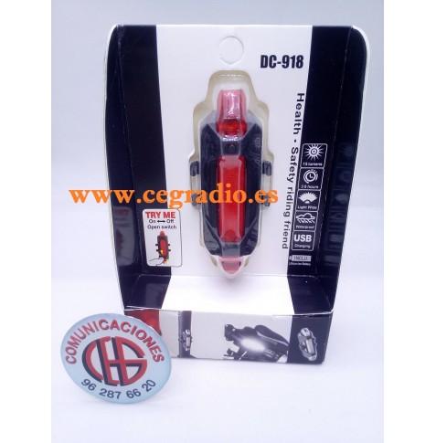 Luz Roja LED Recargable Trasera Bicicleta Micro USB