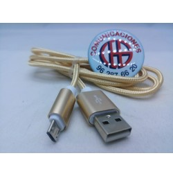 1m Voxlink Cable Micro USB Nylon Azul Negro Oro Vista General