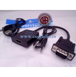 Vention Convertidor VGA-HDMI 1080p Analogico Digital Video Audio Pack Completo