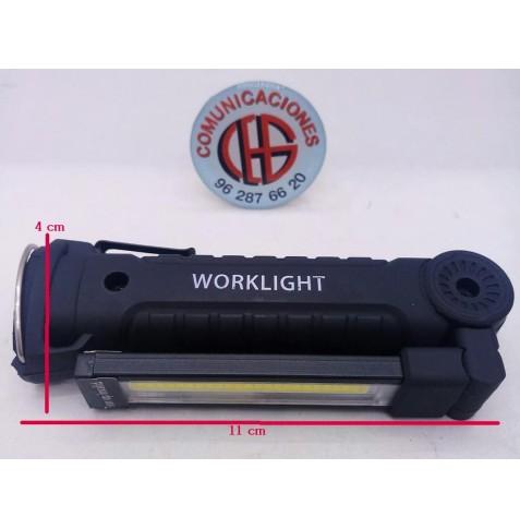 Linterna COB + LED Plegable Recargable Imán Clip Gancho Vista Plegada