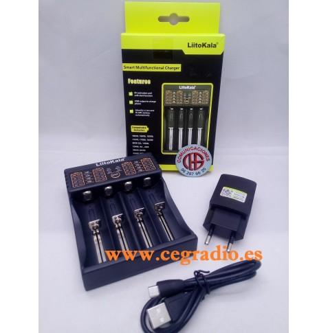 Liitokala Lii-402 Cargador Batería Litio Recargable 4 x 18650 Vista Completa