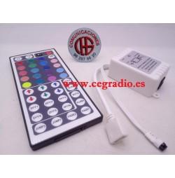 Controlador Tiras LED 3528 5050 DC12V 6A Mando Remoto 44 Teclas IR RGB Vista Conjunto