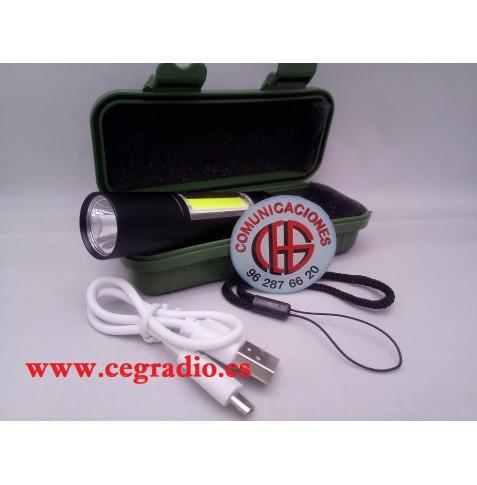 Caja Linterna Recargable USB LED XPE COB 3 modos Vista Completa