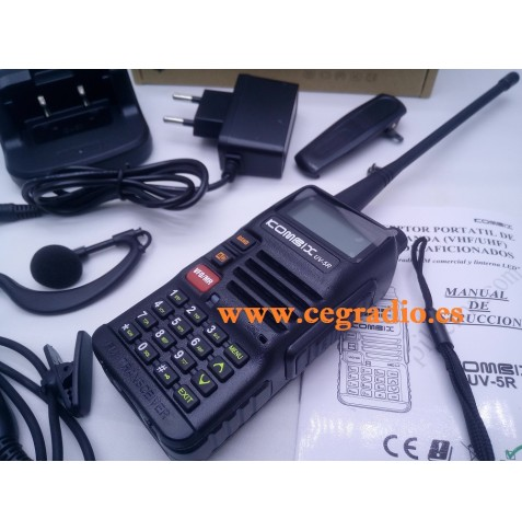 KOMBIX UV-5RE Walkie portátil doble banda VHF UHF Vista Horizontal