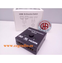 Conmutador HDMI Bidireccional 1080p 3D 4 K DVD HDTV Xbox PS3 Vista General