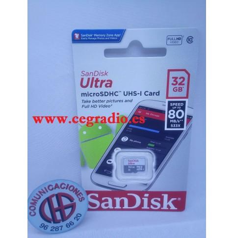 32GB TARJETA SANDISK ULTRA MicroSD UHS-I Clase 10 Vista Blister