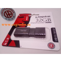 32GB Kingston DataTraveler100 G3 Memoria USB 3.0 Vista Frontal
