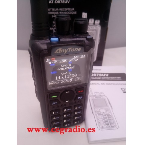 ANYTONE AT-D878UV WALKIE TRANSCEPTOR DMR BIBANDA VHF UHF 144-430 MHZ Vista Frontal