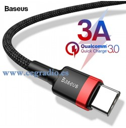 Baseus Cable USB QC 3.0 tipo C Carga Rapida Datos Samsung Galaxy S9 S8 Note8 Xiaomi Max3 Vista General