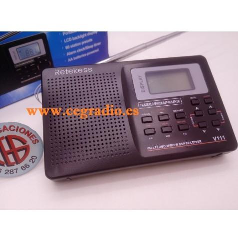 RETEKESS V111 Radio Portatil FM estereo MW SW DSP Reloj Vista General