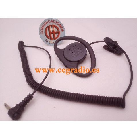 3.5mm Auricular Forma D Gancho Para Micrófono Altavoz MOTOROLA YAESU ICOM Vista General