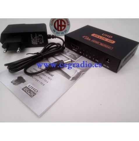 3D 4 K 2 K HDMI 1080 p Conmutador Divisor Split 1 X 4 HDMI 1 Video Amplificador Vista General