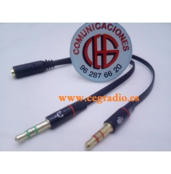 Cable Adaptador Divisor 2 Jack de 3,5mm Macho Estereo a 1 Jack 3.5mm Hembra 4 pins PC Vista General
