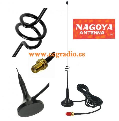Nagoya UT-108UV Antena SMA Hembra Mini Magnetica Bibanda VHF UHF