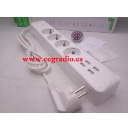 ORICO 4 Enchufes Electricos 4 Puertos USB 5V 2.4A Protector Contra Sobretensiones Vista General