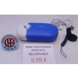 Mini Ventilador Portatil Enfriador Recargable Micro USB Vista General